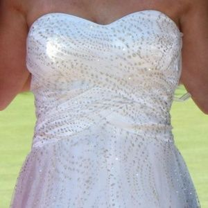 Jump Dresses - White Prom Dress with Gold Sparkle Overlay Detail